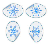 Set of blue stickers with snowflakes. eps10 Stock Photos