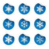Set of blue stickers. Snowflakes Icon. Vector Illustration. Stock Image