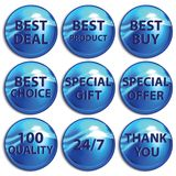 Set of blue stickers on white background. Royalty Free Stock Photos