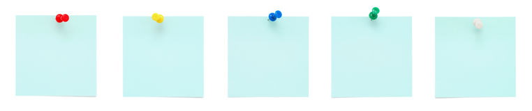Set of blue sticky notes with pushpins Royalty Free Stock Photo