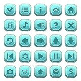 Set of blue stone square buttons. Vector game icons stock illustration