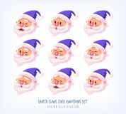 Set of blue suit Santa Claus face emotions icons Cute cartoon faces collection Merry Christmas vector illustration. Stock Photos