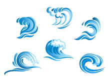 Set of blue surf ocean waves Royalty Free Stock Image