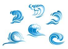 Set of blue surf ocean waves Royalty Free Stock Image