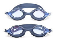 Set blue swim goggles Stock Photo