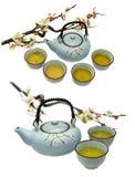 Set with blue tea pot and sakura branch Royalty Free Stock Photos