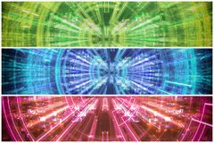 Set of blue technical backgrounds or banners stock images