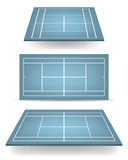 Set of blue tennis courts with perspective Stock Image