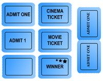 Set of blue tickets. With serrated edges and copy space isolated on white background Stock Photography