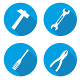 Set blue tools icons Stock Images