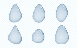 Set of blue transparent drops of different shapes and size with shadow in gray squared background. Vector illustration.  royalty free illustration
