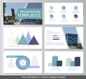 Set of blue and turquoise elements for multipurpose presentation template slides with graphs and charts. Leaflet. Vector template for multipurpose presentation Royalty Free Stock Photo