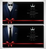 Set of blue tuxedo business card templates with men`s suits and place for text Royalty Free Stock Photos