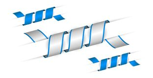 Set of blue twisted ribbons. Set of blue and silver twisted ribbons Royalty Free Stock Photography