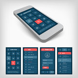 set of blue ui mobile design Royalty Free Stock Images