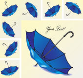 Set of blue umbrellas in different positions Stock Photos