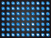 Set of blue universal web icons Stock Image