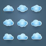 Set of blue vector cloud icons Stock Images