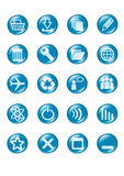 Set of blue vector glass button icons Royalty Free Stock Images