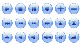 Set of blue vector icons. Royalty Free Stock Photos