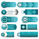 Set of blue vector progress, version, step icons Royalty Free Stock Photography