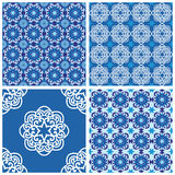 Set of blue vector seamless patterns Royalty Free Stock Photography