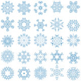 Set of blue vector snowflakes Stock Photos