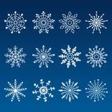 Set of Blue vector snowflakes Royalty Free Stock Photos