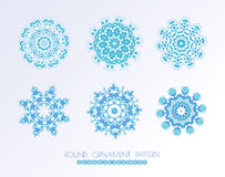 Set of blue vector snowflakes. Royalty Free Stock Image