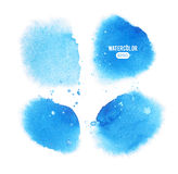 Set of blue vector watercolor stain Stock Photos