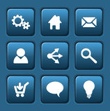 Set of blue vector web square buttons Stock Image