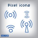 Set blue vector wireless and wifi icons. Royalty Free Stock Image