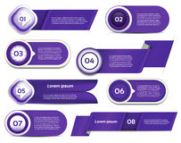 Set of blue-violet vector progress, version, step icons Stock Photos