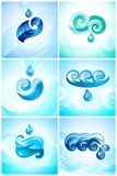 Set blue water natural eco symbols Royalty Free Stock Images