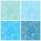 Set of blue watercolor abstract hand painted stock illustration