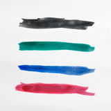 Set of blue watercolor brush stroke isolated on white background Royalty Free Stock Photos
