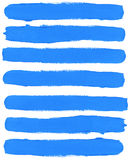 Set of blue watercolor brush strokes Stock Images