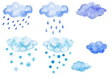 Set of blue watercolor clouds with precipitation stock photos