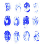 Set of blue watercolor fingerprints. Royalty Free Stock Photography