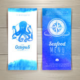 Set of blue watercolor seafood banners Royalty Free Stock Image
