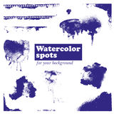 Set of blue watercolor spots,  on a white background Royalty Free Stock Photo