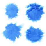 Set of blue watercolor stains. Isolated over the white background. Raster illustration Royalty Free Stock Images