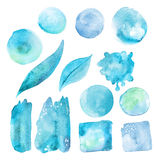 Set of blue watercolor stains. Royalty Free Stock Photo