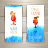 Set of blue watercolor summer banners with cocktail Stock Image