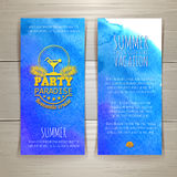 Set of blue watercolor summer banners with cocktail Royalty Free Stock Photos