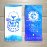 Set of blue watercolor summer banners Stock Photography