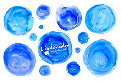 Set of blue watercolor textured hand drawn circles Royalty Free Stock Photos