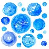 Set of blue watercolor textured hand drawn circles Royalty Free Stock Image