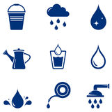 Set blue watering icons Stock Photography