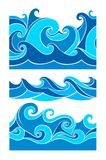 Set blue waves Royalty Free Stock Images